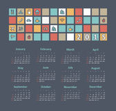 Calendar 2015 year with travel icons Stock Images