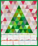Calendar 2017 year twelve months background tree triangulation of polygon triangles. Calendar 2017 twelve months background tree triangulation of polygon Royalty Free Stock Photography