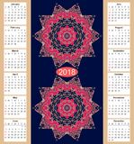 Calendar for 2018 year with two mandalas Stock Images
