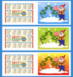 Calendar 2017 year. Two sides. Colorful gnome with a ball and Ch. Ristmas tree. Vector Stock Photo