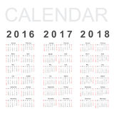 Calendar for 2016, 2017 and 2018 year Royalty Free Stock Photo