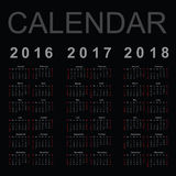 Calendar for 2016, 2017 and 2018 year Stock Photo