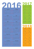 Calendar for 2016, 2017 and 2018 year Royalty Free Stock Image