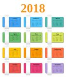 Calendar 2018 year. Vector colorful template planner. Stock Photos