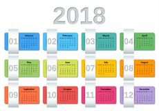 Calendar 2018 year. Vector colorful template planner. Calendar 2018 year. Week starts Sunday. Vector. Colorful design stationery template on white background Royalty Free Stock Photography