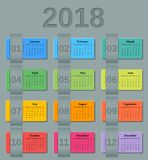 Calendar 2018 year. Vector colorful template. Stock Photography