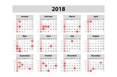 Calendar for 2018 Year. Vector Design Print Template. Week Starts on Sunday. Set of 12 Months. Art Royalty Free Stock Photo