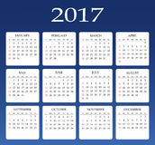 Calendar for 2017 year. Vector design stationery template. Royalty Free Stock Image
