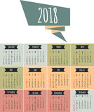 Calendar for 2017 year vector design. Calendar for 2017 year. Vector design stationery template. Week starts Sunday. Flat style color vector illustration Royalty Free Stock Image