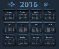 Calendar 2016 year vector design template Stock Image