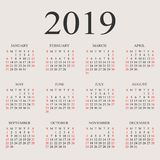 Calendar 2019 year vector design template. Simple 2019 year calendar.  Vector circle calendar 2019. Week starts from Sunday and ends  with Saturday. Font with Royalty Free Stock Photo