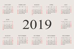 Calendar 2019 year vector design template. Simple 2019 year calendar.  Vector circle calendar 2019. Week starts from Sunday and ends  with Saturday. Font with Royalty Free Stock Image