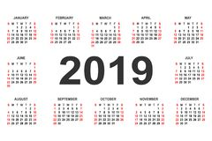 Calendar 2019 year vector design template. Simple 2019 year calendar.  Vector circle calendar 2019. Week starts from Sunday and ends  with Saturday. Font bold Stock Images