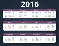 Calendar 2016 year vector design template. EPS10 Royalty Free Stock Photography