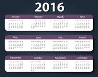 Calendar 2016 year vector design template Royalty Free Stock Photography