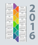 Calendar 2016 year vector design template Royalty Free Stock Photo