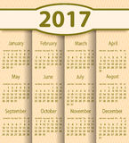 Calendar 2017 year vector design template. EPS10 Stock Images