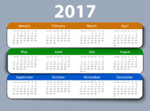 Calendar 2017 year vector design template. EPS10 Royalty Free Stock Photography