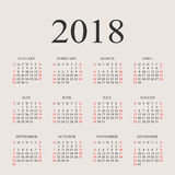 Calendar 2018 year vector design template. Simple 2018 year calendar.  Vector circle calendar 2018. Week starts from Sunday and ends  with Saturday. Font times Royalty Free Stock Photo