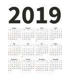 Calendar 2019 year vector design template. Simple minimalizm style. Week starts from Sunday. Portrait Orientation. Set. Of 12 Months. Print Template Stock Illustration