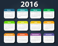 Calendar 2016 year vector design template in. Spanish. EPS stock illustration