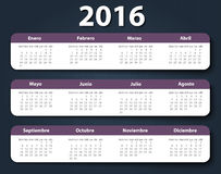 Calendar 2016 year vector design template in. Spanish. EPS Stock Images
