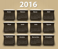 Calendar 2016 year vector design template in. Spanish. EPS royalty free illustration