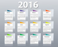 Calendar 2016 year vector design template in. Spanish. EPS Stock Image