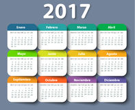 Calendar 2017 year vector design template in Spanish. EPS Stock Image