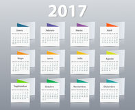 Calendar 2017 year vector design template in Spanish. EPS Royalty Free Stock Photos