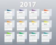 Calendar 2017 year vector design template in Spanish. Royalty Free Stock Photos