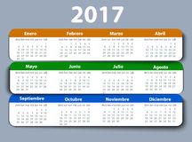 Calendar 2017 year vector design template in Spanish. Royalty Free Stock Images