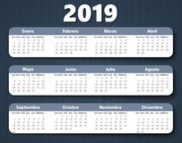 Calendar 2018 year vector design template in Spanish. stock illustration