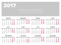 Calendar 2017 year vector design template. Start on monday Stock Photo