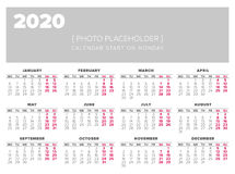 Calendar 2020 year vector design template. Start on monday Royalty Free Stock Images