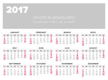 Calendar 2017 year vector design template. Start on sunday Stock Photo