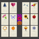 Calendar 2015 year vector design template. Unusual calendar 2016 year design with symbols month in triangle style, English, Sunday start Stock Photo