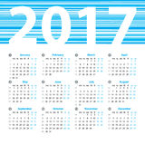 Calendar 2017 year vector design template. Calendar 2017 year vector design template with week numbers and months. Beautiful vector design Stock Images
