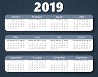 Calendar 2019 year vector design template. Week starting on Monday vector illustration