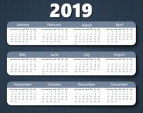 Calendar 2019 year vector design template. Week starting on Sunday royalty free illustration