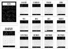 Calendar for 2018 year. Zodiac constellations. Calendar for 2018 year. Week starts on monday. Calendar with the image of the zodiac constellations, graphic, with Royalty Free Stock Images