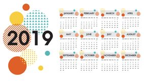 Calendar for the year 2019 vector.Each of the twelve months and the cover is presented on circle design colorful texture on white. royalty free stock photos