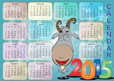 Calendar for Year 2015_010. Vector of English calendar for year 2015 on blue sky background, week starts on Monday Vector Illustration