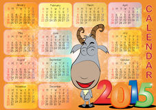 Calendar for Year 2015_011. Vector of English calendar for year 2015 on orange background, week starts on Monday Royalty Free Stock Images