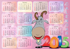 Calendar for Year 2015_013. Vector of English calendar for year 2015 on violet background, week starts on Monday Stock Illustration