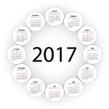 Calendar for 2017 year. Royalty Free Stock Photo