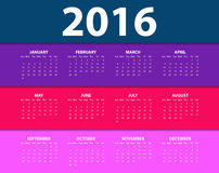 Calendar for the year 2016. Vector illustration.  Royalty Free Stock Images