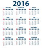 Calendar for the year 2016. Vector illustration.  Stock Image