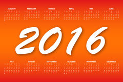Calendar for the year 2016. Vector illustration.  Royalty Free Stock Image