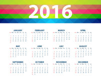 Calendar for the year 2016. Vector illustration.  Stock Photo